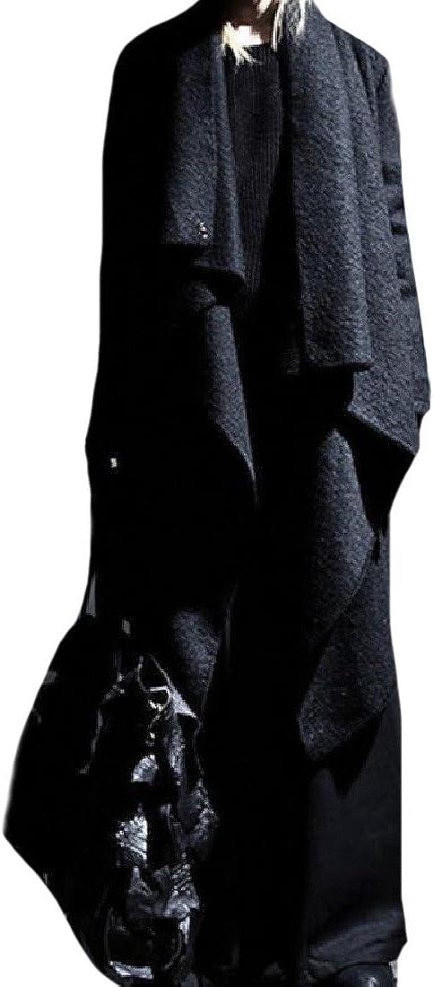 YUSKYMen YUSKY Mens Clubwear Wollen Open Front Wrap Long Maxi Cloak Coat