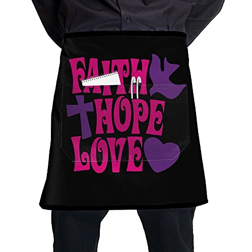 Mens And Womens Faith Hope Love Adjustable Neck Bib Aprons With Front Pocket by Apron&&Home