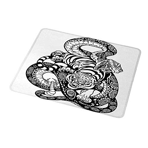 Gaming Mouse Pad Tiger,Tattoo Style Scene of Two Animals Fighting Long Snake with Sublime Large Cat Battle,Black White,Gaming Non-Slip Rubber Large Mousepad 9.8