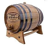 Personalized - Custom American White Oak Aging Barrel - (10 Liters, Black Hoops)