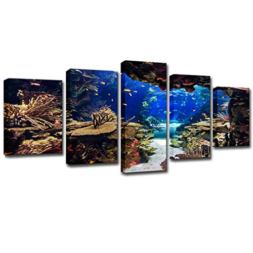 WINSEN Home Decor HD Printed 5 Piece Canvas Art Underwater Sea Fish Coral Reefs Canvas Print Room Decor Wall Poster Picture with Framed Ready to Hang