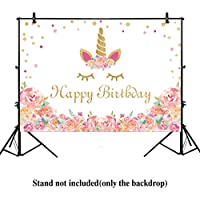 Allenjoy 7x5ft Unicorn Birthday party banner photo backdrop background watercolor floral rose magical Gold Glitter dots baby shower