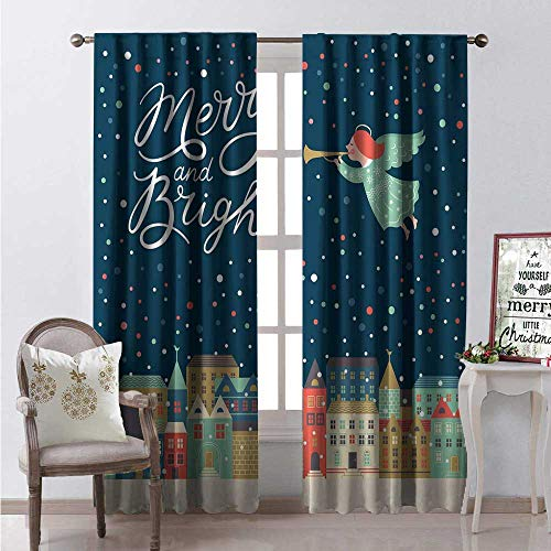 Hengshu Merry Christmas Waterproof Window Curtain Merry Town Landscape Angel Plays Trumpet Colorful Snowfalls New Year Image Decorative Curtains for Living Room W108 x L108 Multicolor