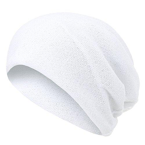 ililily Netted Multi-Purpose Summer Skull Beanie Reversible Neck Snood, White ()