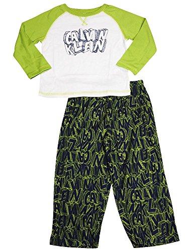 Calvin Klein - Todder Boys Long Sleeve Pajamas, Lime, Navy -