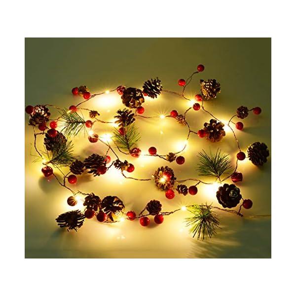 YQing 204cm Bacca Natale Ghirlanda, LED Ghirlanda Natalizia Bacca Rossa Natale Ghirlanda di Pino per Le Decorazioni Natalizie di Capodanno per Le Vacanze di Natale 1 spesavip