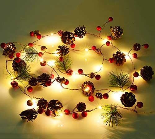 Artiflr 6.7FT Christmas Garland with Lights, 20 LED Red Berry Pine Cone Garland Lights Battery Operated, led Garland String Lights, Christmas Decorations for Home, Garland for Fireplace (Christmas For Garlands Fireplace)