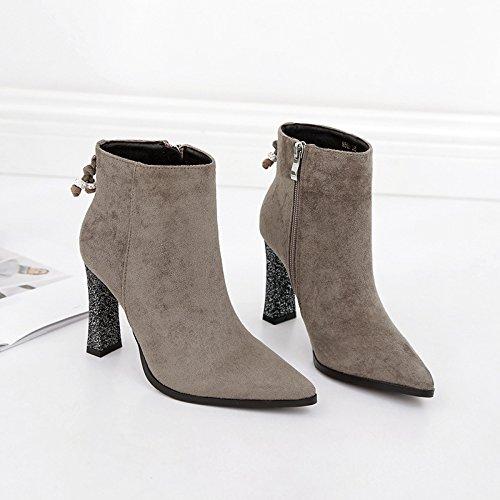 di stivali punta Calzature 39 grigio stivaletti tacco bold di stivali Martin Donna acqua matt di perforazione alta scarpe tacco scarpe alta Punta di con nudo aFq4Cx4Tw