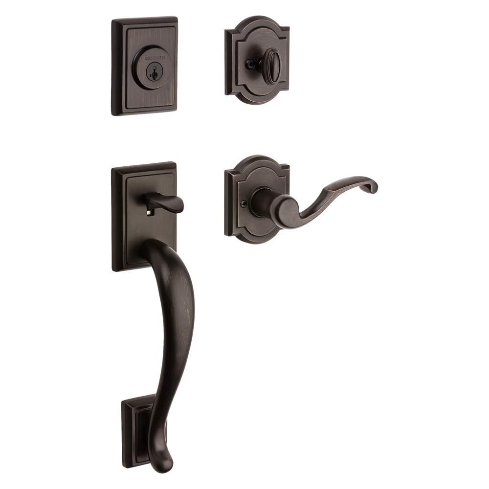 Baldwin Pistoria Single Cylinder Front Door Handleset Featuring SmartKey Security in Venetian Bronze, Prestige Series with Traditional Door Hardware and Madrina Lever