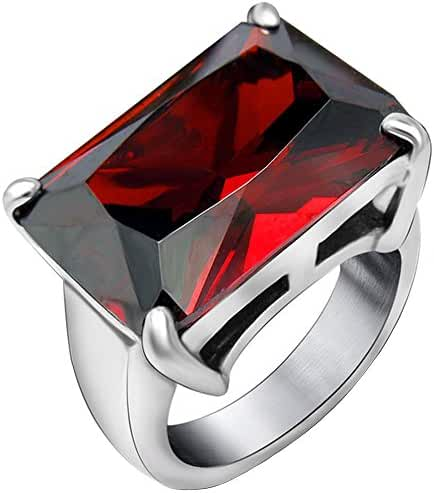 Claire Jin Grace Big Square Queen Red Zirconia Ring Retro Jewelry Vintage Rings for Women