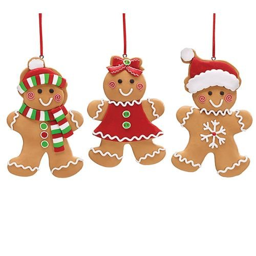Set of 3 Gingerbread Cookie Christmas Tree Ornaments Adorable Holiday Decor
