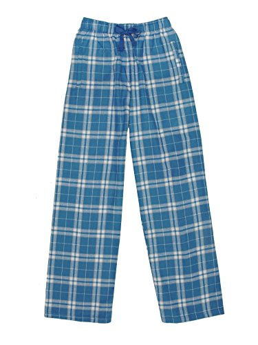 Flannel Loungewear (Ultra Soft Unisex Youth 100% Cotton Flannel Pants – Royal/Silver, Medium)