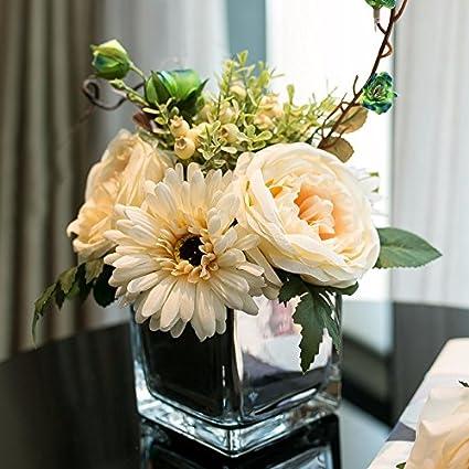 Flor de emulación fake flor rosas flores de seda hydrangea botellas envasadas salón Oficina Decoracion swing