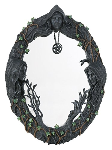 Celtic Decor Home (Mother Maiden Crone Triple Goddess Mirror with Amulet 17.5
