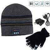 Moretek Wireless Bluetooth Beanie Hat Cap Hat with Musicphone Speakerphone Stereo Headphone Headset Earphone Speaker Mic for Fitness Outdoor Sports Walking (Black)