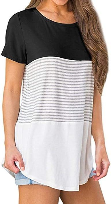 CUCUHAM Women Short Sleeve Triple Color Block Stripe T-Shirt Casual Blouse