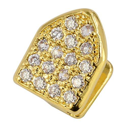 Captain Crafts Gold Plated Czech Diamond Hip Hop Teeth Grillz Caps Top Bottom Teeth (Gold) - Cheap Gold Teeth Caps