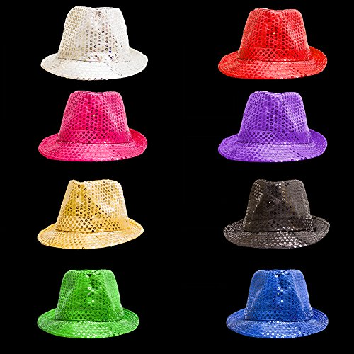 Fun Central O993 LED Light Up Sequin Fedoras - Assorted Colors 12ct by Fun Central (Image #3)