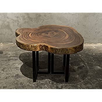 Natural Live Edge Solid Ebony Wood Slab Coffee Table Set With Iron Stands  E01