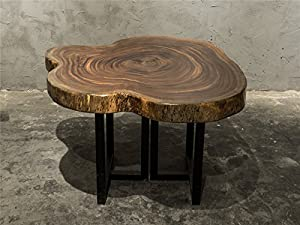 Beautiful Natural Live Edge Solid Ebony Wood Slab Coffee Table Set With Iron Stands  E01