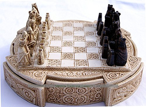 Masters Masters Masters Traditional Games Isle Of Lewis Compact Chess Set - 9 inches, cream cabinet b31eac