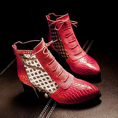 Moyen Wealsex Classiques Bottes Pointu Bloc Eclair Femme Bottine Elégant Confort Cuir Bout Serpent Talon Rouge Lacets Fermeture xWCIwrnTqC