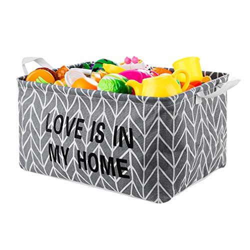 Sporeek Square Linen & Cotton Fabric Storage Basket with Handles Jumbo Organizer Bin for Pet/Kids Toys, Books, Clothes, Perfect for Kid Rooms/Playroom/Shelves (15