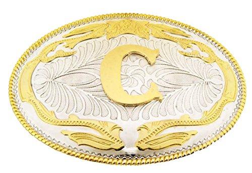 Initial Belt Buckles Texas Us Style Cowboy Men Jumbo Big Gold Silver Metal New (Initial Monogram C)