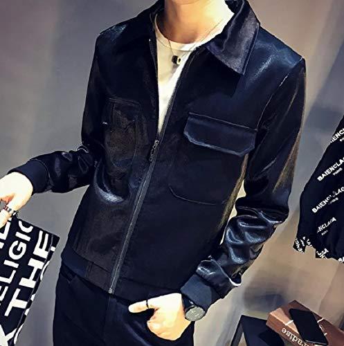 Collar Down Jacket Casual Black Turn New MogogoMen Zip Coat Comfort Liquid 6USqxE