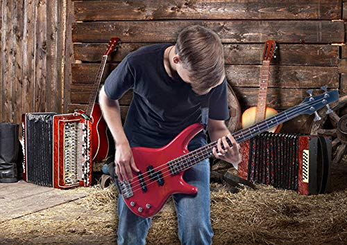 Xingouchen 9x6ft Country Music Style Boots Hay Wood Wheel Accordion Guitar Abstract Backdropr Decorations Photo Booth Background Seamless Collapsible Photography Backdrop