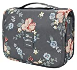 Adigow Hanging Toiletry Bag - Portable Waterproof Cosmetic Makeup Wash Bag for Men & Women - Travel Kit Organizer with Sturdy Hook (Dark Grey Flowers)