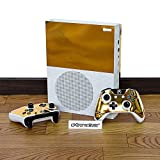 eXtremeRate® Gold Color Full Set Faceplates Skin Stickers for Xbox One S Console Controller with 2 Pcs Console Power Button Decals Review