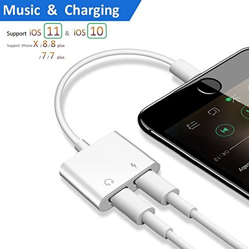 Lightning Jack Headphone Adapter Charger for 8/8 Plus iPhone 7/7 Plus/iPhone X 10/iPad/iPod Earphone Adapter Headphone Aux Audio & Charge Adapter Connector Lightning Cable (White)