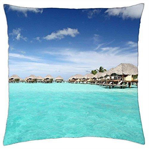 Bora Bora Pearl Beach Resort - tranquil blue lagoon and water villas - Throw Pillow Cover Case (16