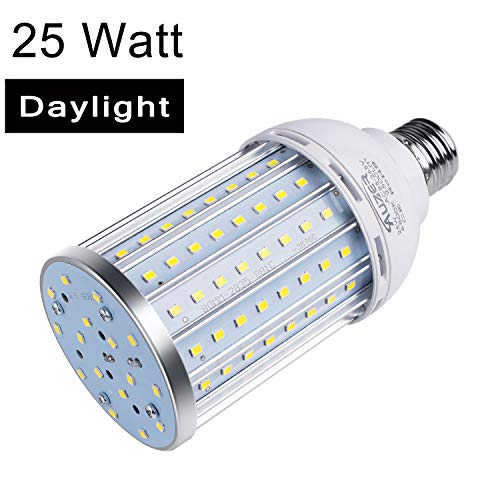 Auzer 25W LED Corn Light Bulb (180W Equivalent), E26 Base, 2500-Lumen, 6500K Daylight Cool White, AC 85V-265V, LED Corn Bulb for Indoor Outdoor Large Area Garage Factory Warehouse High Bay