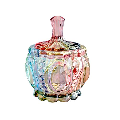 (SOCOSY Royal Embossed Clear Glass Apothecary Jar With Lids , Candy Jar Containers Wedding Candy Buffet Jars Crystal Jewelry Box Food Jar 7oz)