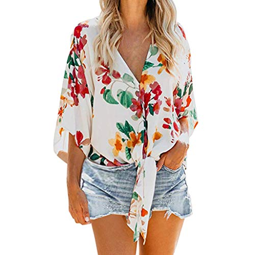 Floral Tie Knot Tops,ONLYTOP Women's Button Down Shirts V Neck Shirt Tank Top Loose Casual Button Down Blouse Red