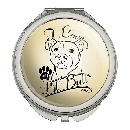 Mirror Metal Bull - I Love My Pit Bull Compact Travel Purse Handbag Makeup Mirror
