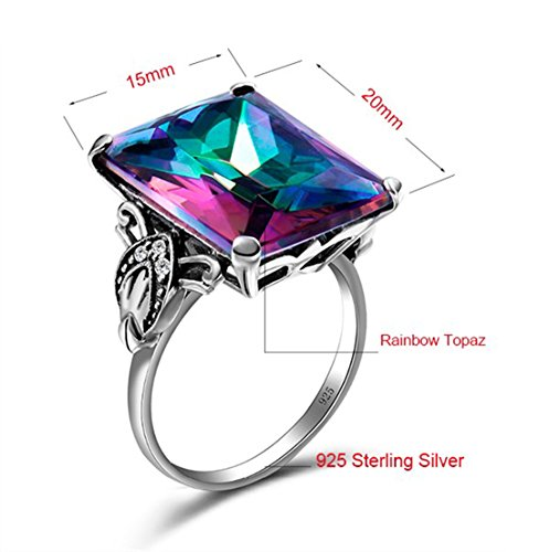 SzjinAo Vintage Antique Design Big Square Mystic Fire Rainbow Topaz Stone  Ring with 6pcs Small CZ Cubic Zirconia for Women Men Rings (Size 5)
