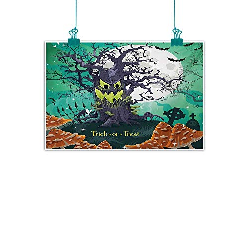 duommhome Wall Art Decor Poster Painting Halloween Trick or Treat Dead Forest with Spooky Tree Graves Big Kids Cartoon Art Print Natural Art W24 xL20 -
