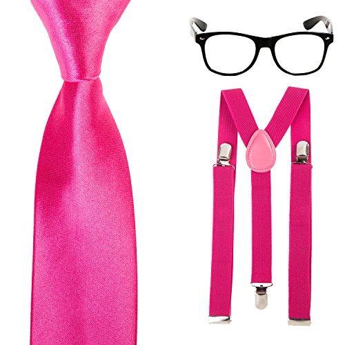 Glasses Slim Neck Tie Geek Nerd Tie Fancy Dress Costume Braces Hot Pink