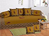Odishabazaar 8 Pcs Indian Gumar dance Print Diwan set with 5 cushion, 2 bolster covers and 1 bedsheet