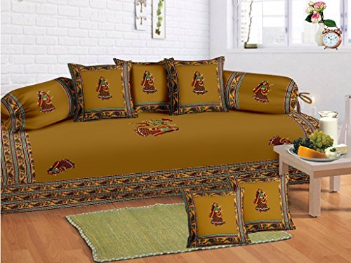 Odishabazaar 8 Pcs Indian Gumar dance Print Diwan set with 5 cushion, 2 bolster covers and 1 bedsheet by Odishabazaar