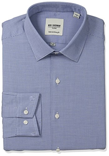 ben-sherman-mens-skinny-fit-unsolid-texture-spread-collar-dress-shirt-blue-navy-16-neck-34-35-sleeve