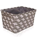 Gray Elephant Canvas Storage Basket - High Quality Box for Household Storage with White Elephants. 16.5in x 12.5in x 7.5in