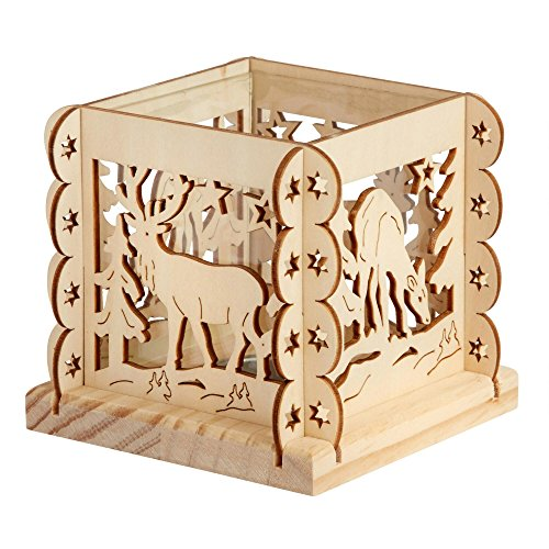 Nantucket Home Glass and Cutout Wooden Tealight Candle Holder (Reindeer in The Woods)