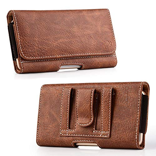 Luxmo Wallet Series Case for Samsung Galaxy Note 9 - PU Leather Phone Belt Holster Carry Pouch with Card Slots/Coin Holders and Atom Cloth for Samsung Galaxy Note 9 - Brown