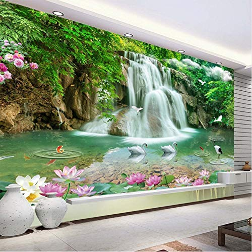 hwhz Custom Photo Mural Wallpaper Hd Waterfall River White Swan Green Tree Nature Pastoral Landscape 3D Mural Wallpaper for Walls 3 D-250X175Cm
