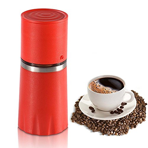 Cheap ZNZ Manual Coffee Grinder Filter Cup Coffee Brewer, Portable Coffee Maker, All-in-One Coffee Machine Cup for Travel Home Gift (Red)