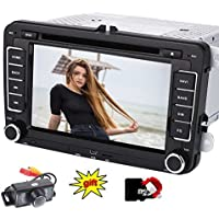 EinCar Car Radio for VW/SKODA/SEAT + Car DVD Player/GPS Navigator Europe Maps Bluetooth Handsfree 7 Inch Touch Screen Display Micro SD USB port CAN-BUS Dual Zone Rear View Camera Subwoofer